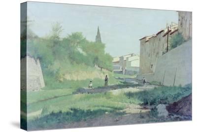 At the Mugnone River-Odoardo Borrani-Stretched Canvas Print