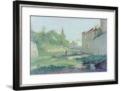 At the Mugnone River-Odoardo Borrani-Framed Giclee Print