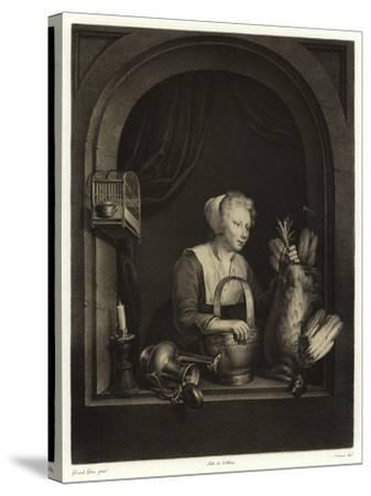 A Woman Hanging Up a Fowl-Gerrit or Gerard Dou-Stretched Canvas Print