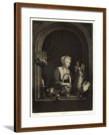 A Woman Hanging Up a Fowl-Gerrit or Gerard Dou-Framed Giclee Print