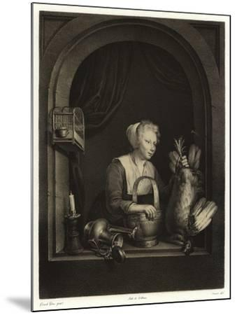 A Woman Hanging Up a Fowl-Gerrit or Gerard Dou-Mounted Giclee Print