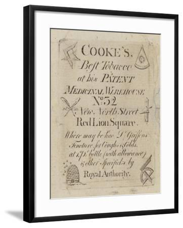 Tobacconist and Snuff Man, Cooke'S, Trade Card--Framed Giclee Print