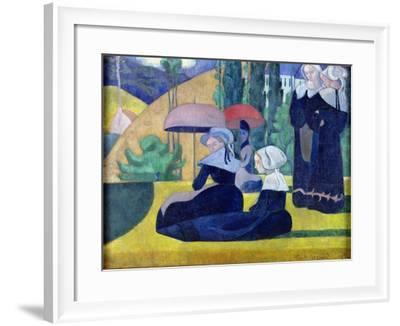 Breton Women in the Shade, 1892-Emile Bernard-Framed Giclee Print