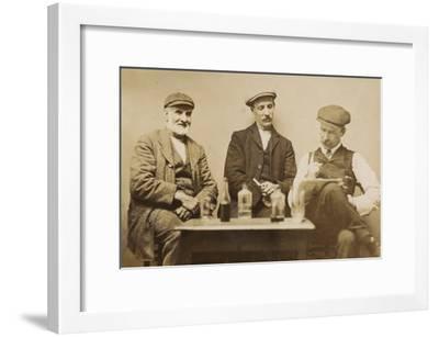 Three Working Men Enjoying a Drink--Framed Photographic Print