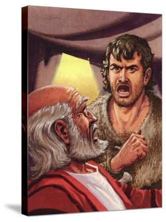 Esau with His Father Isaac-Pat Nicolle-Stretched Canvas Print
