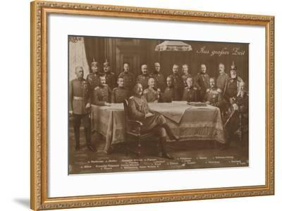 Kaiser Wilhelm II with His War Council, 1914--Framed Photographic Print