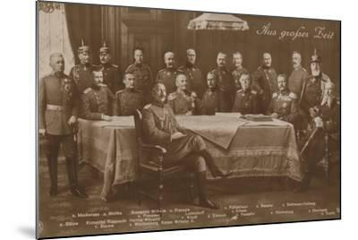 Kaiser Wilhelm II with His War Council, 1914--Mounted Photographic Print