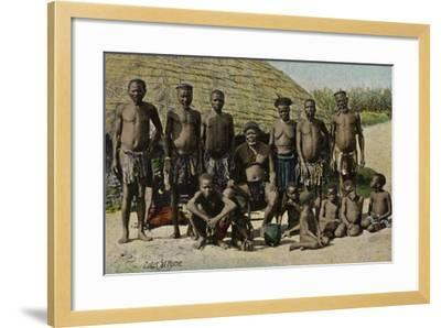 Postcard Depicting Zulus at Home--Framed Photographic Print