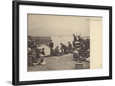 Fishing from the Pier--Framed Photographic Print