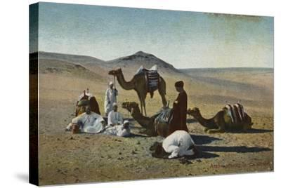 Arabs Praying in the Desert--Stretched Canvas Print
