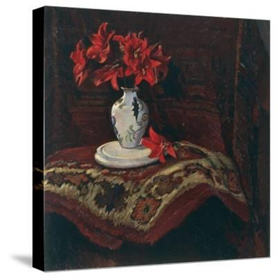 Rug and Vase with Red Lilies-Mario Puccini-Stretched Canvas Print
