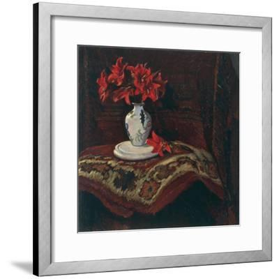 Rug and Vase with Red Lilies-Mario Puccini-Framed Giclee Print