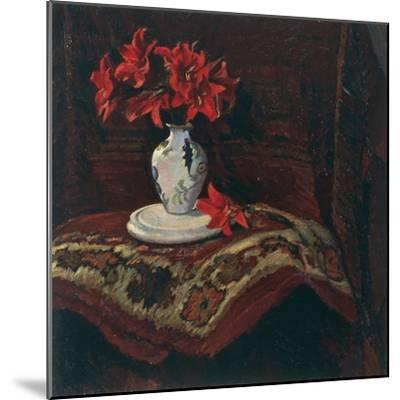 Rug and Vase with Red Lilies-Mario Puccini-Mounted Giclee Print