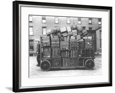 Luggage Cart, Penn Station, New York, C.1910--Framed Photographic Print