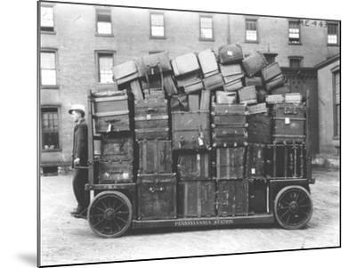 Luggage Cart, Penn Station, New York, C.1910--Mounted Photographic Print