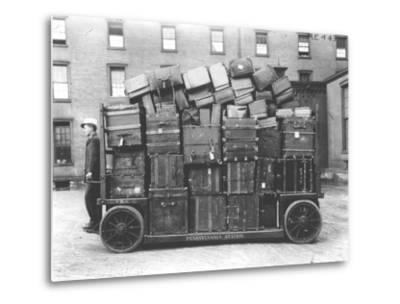 Luggage Cart, Penn Station, New York, C.1910--Metal Print