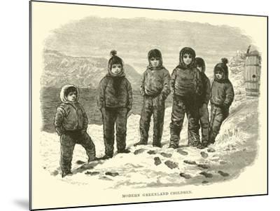 Modern Greenland Children--Mounted Giclee Print