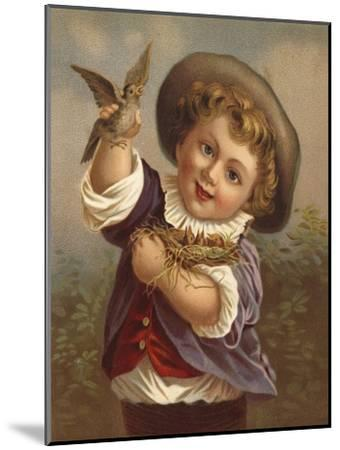 Boy Holding a Bird and the Bird's Nest--Mounted Giclee Print