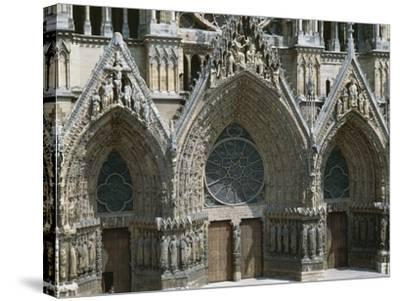 Doors of West Facade of Cathedral of Notre-Dame--Stretched Canvas Print