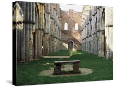 Gothic Interior of the Abbey of San Galgano--Stretched Canvas Print