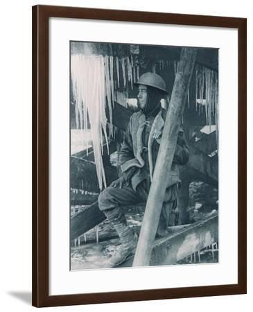 Ice Makes Daggers in the Winter Trenches, 1914-18--Framed Photographic Print