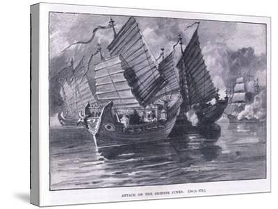 Attack on the Chinese Junks AD 1841-William Heysham Overend-Stretched Canvas Print