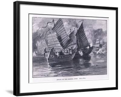 Attack on the Chinese Junks AD 1841-William Heysham Overend-Framed Giclee Print