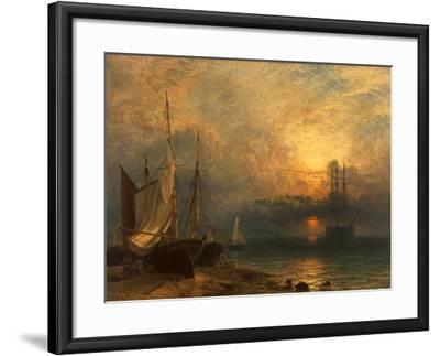 Waiting for the Tide, Sunset, 1866-Henry Dawson-Framed Giclee Print