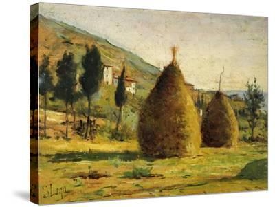 Haystacks in Sun, 1890-Silvestro Lega-Stretched Canvas Print
