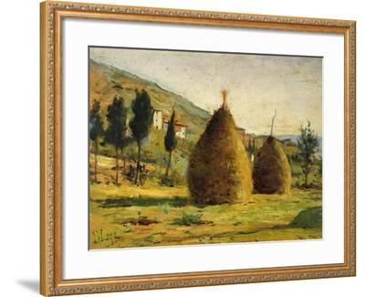 Haystacks in Sun, 1890-Silvestro Lega-Framed Giclee Print