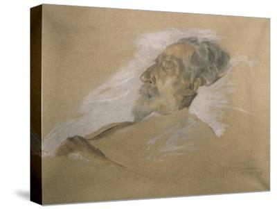Giuseppe Verdi on His Deathbed-Adolfo Hohenstein-Stretched Canvas Print