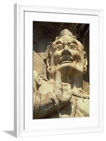 Figure of a Demon, Longmen Caves, Henan Province--Framed Photographic Print