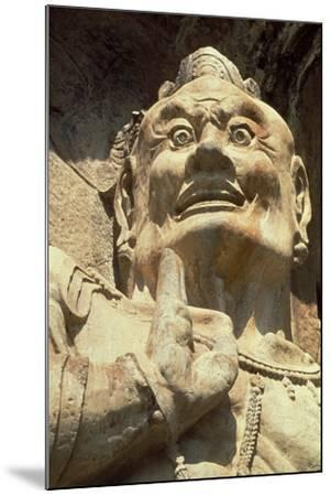 Figure of a Demon, Longmen Caves, Henan Province--Mounted Photographic Print
