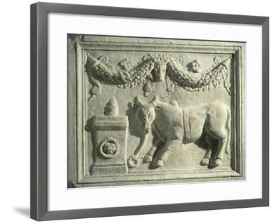 Altar with Relief Depicting Sacrifice of Bull--Framed Giclee Print