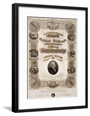 Commemorative Poster for Franz Joseph Haydn--Framed Giclee Print