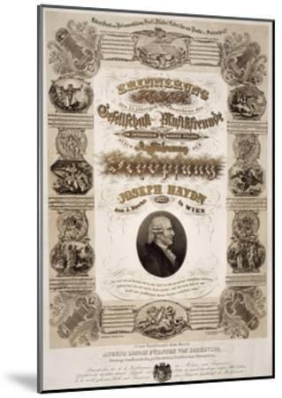 Commemorative Poster for Franz Joseph Haydn--Mounted Giclee Print