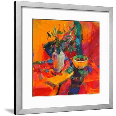 Lilies on a Red Ground, 2012-Peter Graham-Framed Giclee Print
