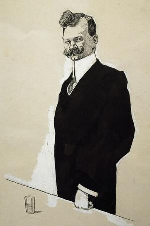 Caricature of Franz Lehar--Stretched Canvas Print