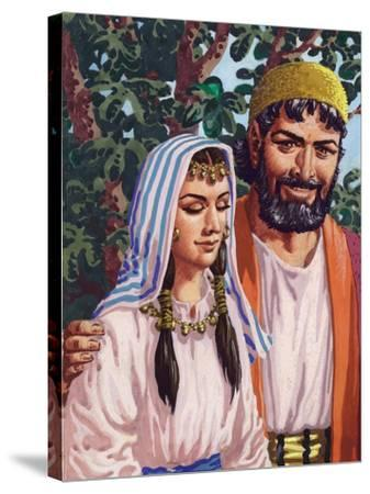Issac and His Wife Rebekah-Pat Nicolle-Stretched Canvas Print