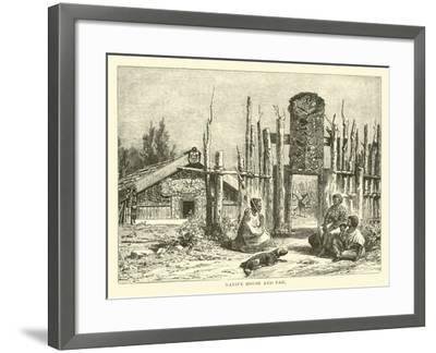 Native House and Pah--Framed Giclee Print