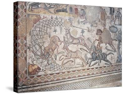 Mosaic of Little Hunt, Villa Romana Del Casale--Stretched Canvas Print