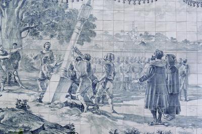 Arrival of Pedro Alvares Cabral in Brazil--Framed Giclee Print