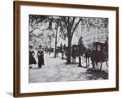 New York Sidewalk, Early 1900s--Framed Photographic Print