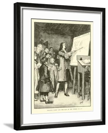 William Carey and the Map of the World--Framed Giclee Print