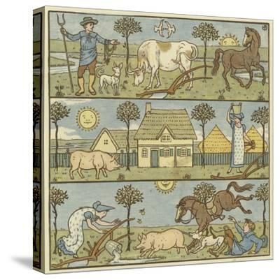 Once There Lived a Little Man-Walter Crane-Stretched Canvas Print