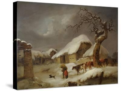 Snow in the Farmyard, 1812-Joseph Rhodes-Stretched Canvas Print