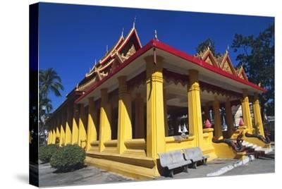 The Buddhist Wat Mixai Temple in Vientiane--Stretched Canvas Print