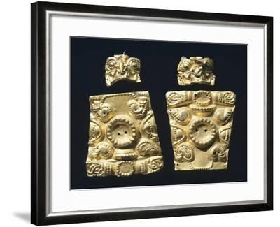 Gold Embossed Plaque Originating from La Tolita--Framed Giclee Print