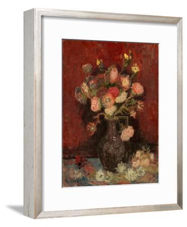 Vase with Chinese Asters and Gladioli-Vincent van Gogh-Framed Giclee Print