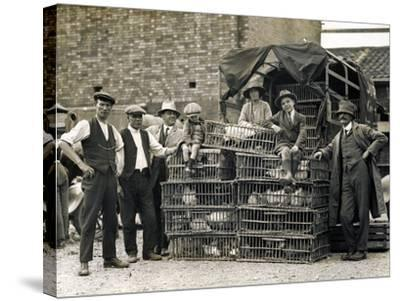 Market Vendors with Chickens--Stretched Canvas Print